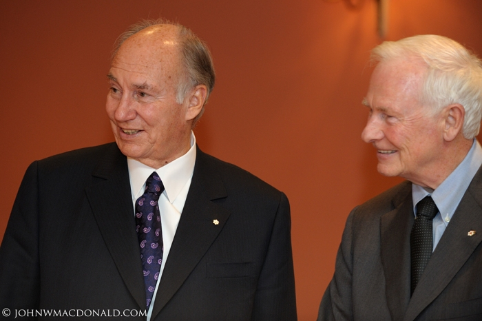 His Highness the Aga Khan and Canada's Governor General, David Johnston, pictured at Rideau Hall in Ottawa, on October 7, 2010. The Aga Khan was in Ottawa on the occasion of the inaugural board meeting of the Global Centre for Pluralism.  David Johnston became the 28th Governor General on October 1, 2010. In 1983, he was the Principal and Vice Chancellor of McGill when the University conferred an Honorary Degree of Laws on the Aga Khan. (Simerg/John W. MacDonald)