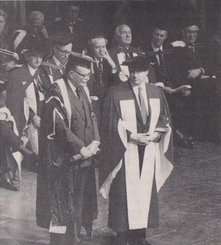 November 1, 1983- His Highness the Aga Khan seen with McGill University Chancellor - Conrad Hernington on being conferred with an Honorary Degree of Laws by McGill University (Simerg)