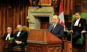 His Highness the Aga Khan delivers a historic address to a joint session of the Parliament of Canada on 27 February 2014, at the invitation of Prime Minister Stephen Harper. - Photo: AKDN / Gary Otte