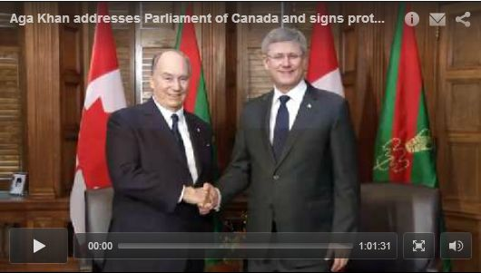 TheIsmaili.org VIDEO: Mawlana Hazar Imam visits the Parliament of Canada; signs protocol with Prime Minister