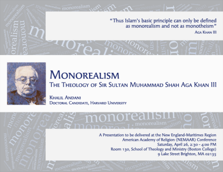 Event - Monorealism: The Theology of Sir Sultan Muhammad Shah Aga Khan III by Khalil Andani