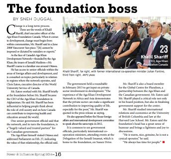 The Hill Times: Power & Influence: AKF CEO Khalil Shariff & Canadian Ambassador Arif Lalani