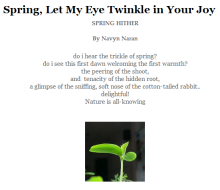 Poem by Navyn Naran: Spring, Let My Eye Twinkle in Your Joy