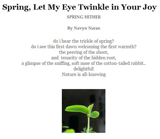 Poem by Navyn Naran: Spring, Let My Eye Twinkle in Your Joy