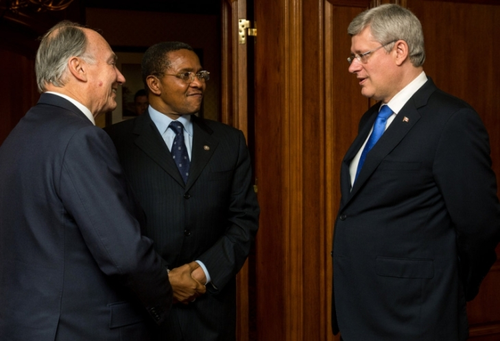 Canadian Prime Minister Stephen Harper and his wife having Dinner with His Highness the Aga Khan & Tanzanian President Jakaya Kikwete