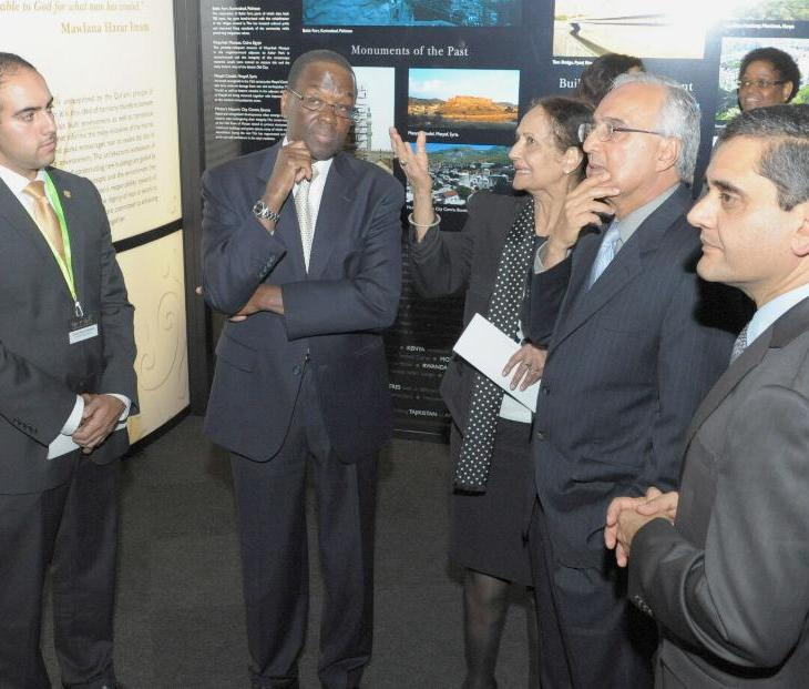 Coastweek-- During an outreach event for the Judiciary of Kenya, Lady Justice Kalpana Rawal expounds on a panel as Chief Justice Dr Willy Mutunga, Dr. Azim Nanji and Ismaili Council for Kenya President Nawaaz Gulam listen attentively while touring the RAYS OF LIGHT exhibition. PHOTOS: ALY Z. RAMJI
