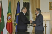 His Highness the Aga Khan and Portugal's Foreign Minister Luis Amado after the signing of an international agreement between the Portuguese Republic and the Ismaili Imamat.