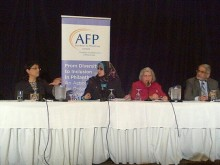 Philanthropists Panelists -Sheherazad Hirji (Agha Khan Foundation); Dr. Aliaa Dakroury; Dr. Safaa Fouda (Ottawa Muslim Women's Organization), and Muneeb Nasir (Olive Tree Foundation).