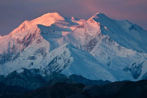 Sunrise alpenglow on Mount McKinley, Alaska.