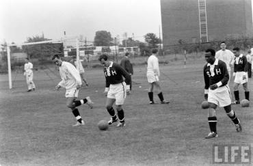 His Highness the Aga Khan during soccer practice at Harvard (Image – Life Magazine)
