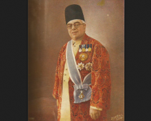 Aga Khan III in full regalia - colour - landscape
