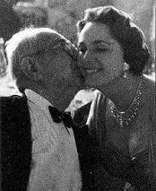 His Highness Aga Sir Sultan Muhammad Shah, Aga Khan III and Mata Salamat, Princess Yvonne Aga Khan - loving kiss