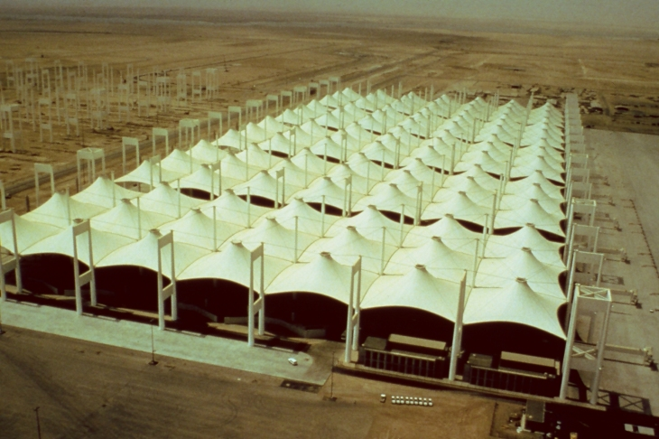The Hajj Terminal is a tented structure that covers 120 acres and 2.8 million square feet and accommodates massive groups from all over the world in a short timeframe It received the 2010 American Institute of Architects (AIA) Twenty-Five Year award. The AIA Twenty-five Year Award recognizes an architectural project that has stood the test of time ( 25 years). The space serves as a gateway for millions of pilgrims who journey to the holy city of Mecca each year. (Fabric Architecture / Fabric Structures).