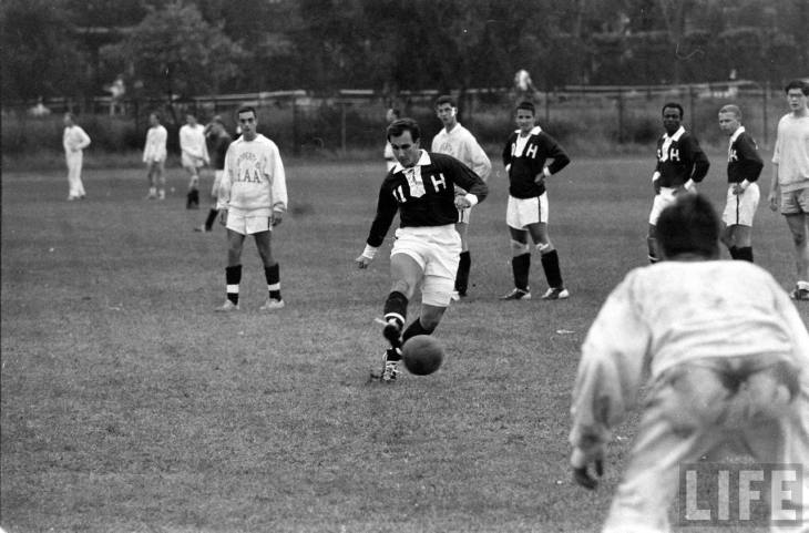 His Highness the Aga Khan playing soccer at Harvard (Image - Life Magazine)
