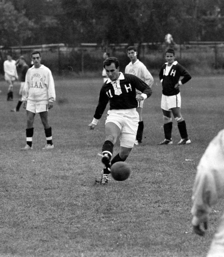 His Highness the Aga Khan playing soccer at Harvard (Image - Life Magazine)