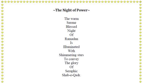 Poem Noori Mamdani: The Night of Power