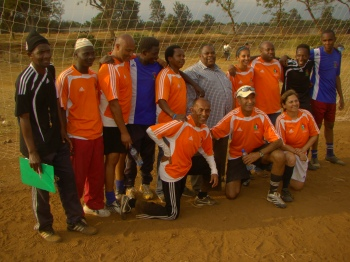 Pictured above are the five IYSC coaches from Canada with their counterpart Tanzania coaches with the Hon. Kilimanjaro Regional Commissioner, Mr. Leonidas Gama (in chequered shirt) – standing in the back row, in the middle.