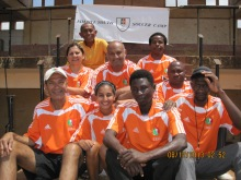 Seated from Top – left to right: Amyn Bhulji Shain Bhulji, Amin Kanji & John Mmbando (the Head of YES Tanzania – NGO – the Lead Co-ordinator) Alnoor (Bunju) Virani, Hannah Jiwani and Lawrance Manyonyi (Moshi Football Assoc.) Isack Gamba and Hamad Haule (the local coaches)