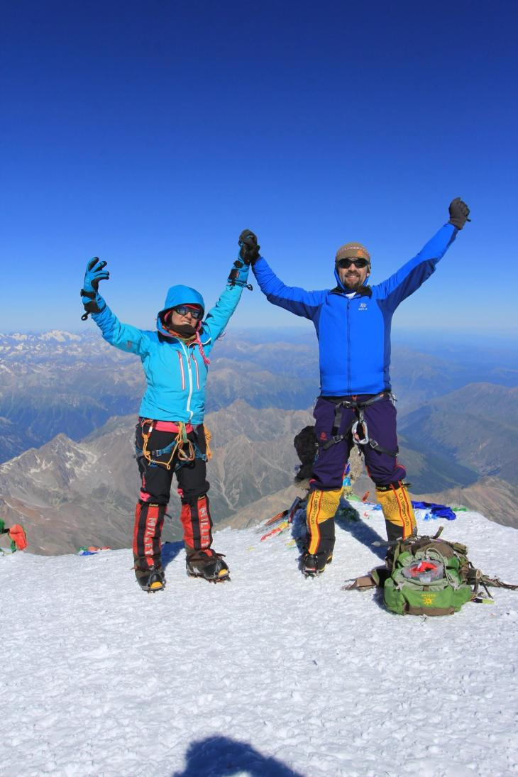 Yes! We made it to the Seven Summits on Seven Continents in just under 8 months. Celebrating atop Mount Elbrus (Russia).