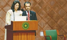 Samina and Mirza Ali Baig at jam packed Aga Khan University Hospital's gymnasium