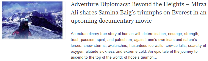 Adventure Diplomacy: Beyond the Heights – Mirza Ali shares Samina Baig's triumphs on Everest in an upcoming documentary movie