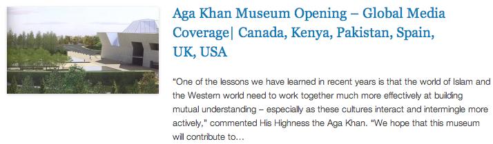 Aga Khan Museum Opening – Global Media Coverage - Canada, Kenya, Pakistan, Spain, UK, USA