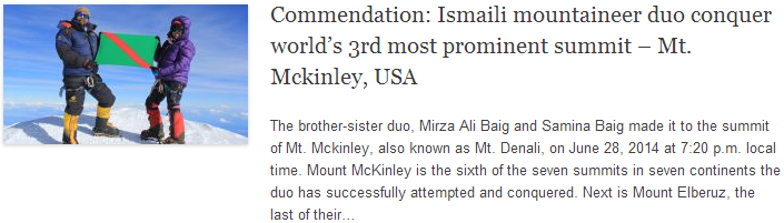 Commendation: Ismaili mountaineer duo conquer world's 3rd most prominent summit – Mt. Mckinley, USA