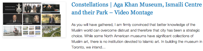Constellations - Aga Khan Museum, Ismaili Centre and their Park – Video Montage