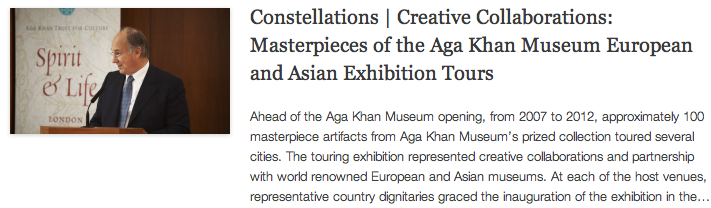 Constellations - Creative Collaborations - Masterpieces of the Aga Khan Museum European and Asian Exhibition Tours
