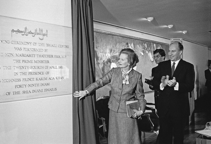 1985-04-24: His Highness Prince Karim Aga Khan IV and Prime Minister Margaret Thatcher officially opens the Ismaili Centre, London (Image: The Ismaili.org/Nick Hewer).