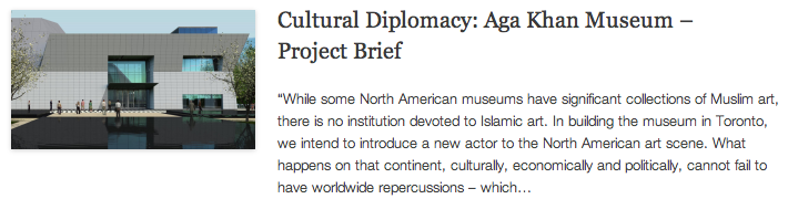 Cultural Diplomacy - Aga Khan Museum – Project Brief