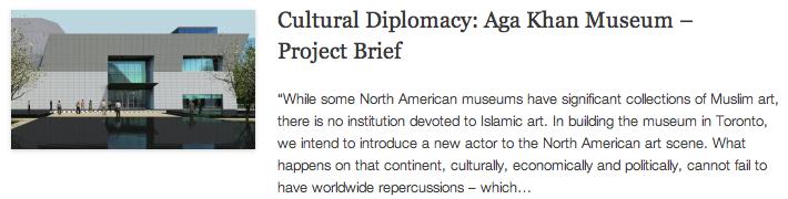 Cultural Diplomacy - Aga Khan Museum – Project Brief