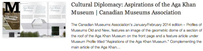 Cultural Diplomacy - Aspirations of the Aga Khan Museum - Canadian Museums Association