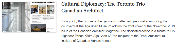 Cultural Diplomacy - The Toronto Trio - Canadian Architect