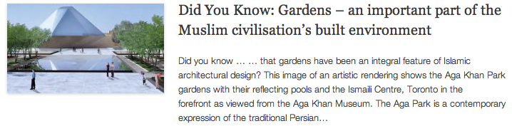 DYK - Gardens – an important part of the Muslim civilisation's built environment