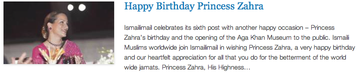 Happy Birthday Princess Zahra