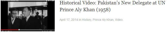 Historical Video: Pakistan's New Delegate at UN Prince Aly Khan (1958)