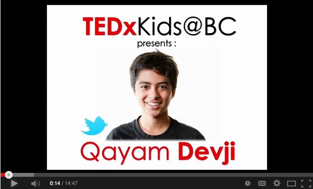 If you want to change the world talk to a kid: Qayam Devji at TEDxKids@BC | Vancouver Youth