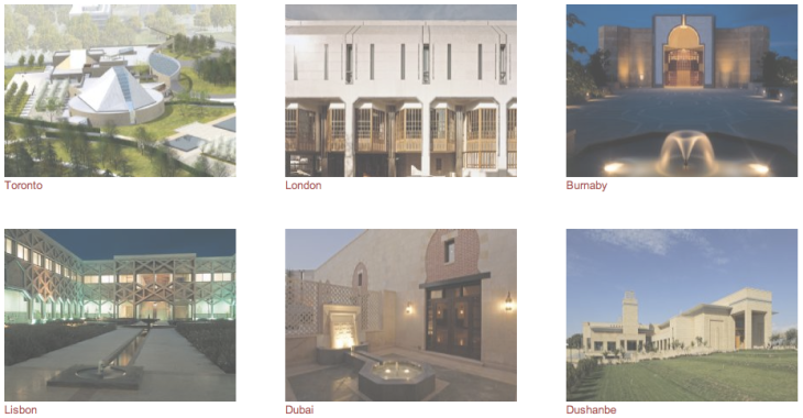 Click the image to view a video montage of the buildings, gardens, and detailed architecture of the Ismaili Centres in Burnaby, Dubai, Dushanbe, Lisbon, and London. Courtesy of TheIsmaili.org