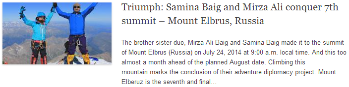 Triumph: Samina Baig and Mirza Ali conquer 7th summit – Mount Elbrus, Russia