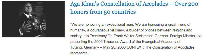 Aga Khan's Constellation of Accolades – Over 200 honors from 50 countries