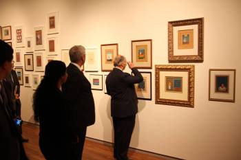 Aisha Khalid with Canadian Prime Minister Stephen Harper and His Highness The Agha Khan showing her 59 Paintings from the period 1998-2014 being on display at Agha Khan Museum, Toronto