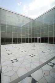The Aga Khan Museum Courtyard with its geometric patterned floor.