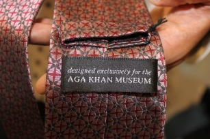 "Tie label ""designed exclusively for Aga Khan Museum."""