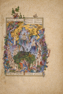 The Court of Keyomars Folio 20v from a Shah-‐Nameh (Book of Kings) produced for Shah Tahmasp I Painting by Soltan Mohammad Tabriz, Iran, ca. 1522 Opaque watercolour, ink, gold, and silver on paper 47 x 32 cm AKM165