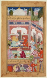 School Courtyard with Boys Reading and Writing, Folio 149v of the Akhlaq-‐e Nasiri (Ethics of Nasir) by Tusi (d. 1274) Northern India (Historic Hindustan), 1590–95 Opaque watercolour, ink, and gold on paper 23.9 x 14.2 cm AKM288