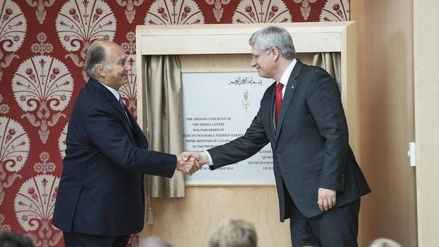 Canadian Prime Minister Stephen Harper shakes hands with His Highness the Aga Khan, the 49th hereditary Imam of the Ismaili Muslims, at the opening of the Ismaili Centre Toronto and the Aga Khan Museum in Toronto on Friday, September 12, 2014. (Aaron Vincent Elkaim/THE CANADIAN PRESS)