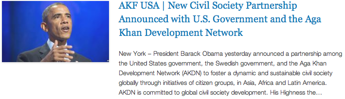 CGI - AKF USA - New Civil Society Partnership Announced with U.S. Government and the Aga Khan Development Network