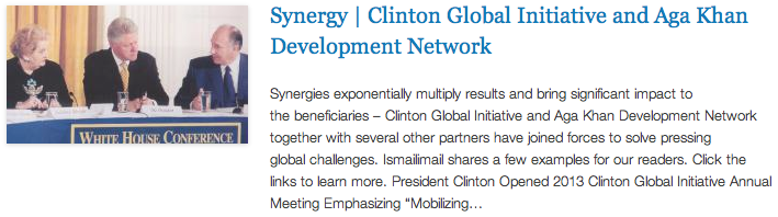 CGI - Synergy - Clinton Global Initiative and Aga Khan Development Network