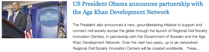 CGI - US President Obama announces partnership with the Aga Khan Development Network
